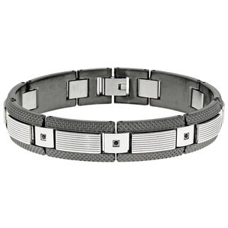 Stainless Steel Black Cubic Zirconia Link Bracelet with Grey Ion Plating