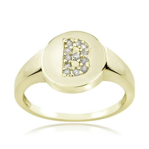 DB Designs Sterling Silver 1/8ct TDW Diamond B Initial Ring