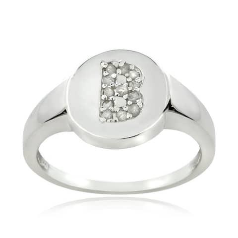 DB Designs Sterling Silver 1/8ct TDW Diamond B Initial Ring