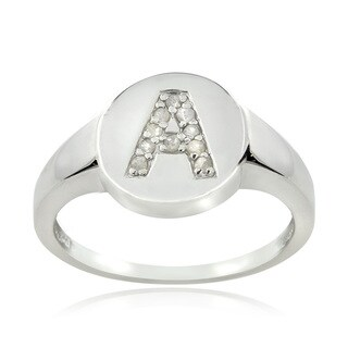 DB Designs Sterling Silver 1/10ct TDW Diamond A Initial Ring