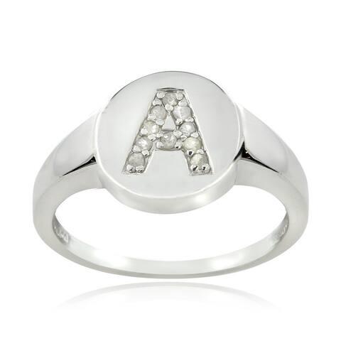 DB Designs Sterling Silver 1/10ct TDW Diamond A Initial Ring