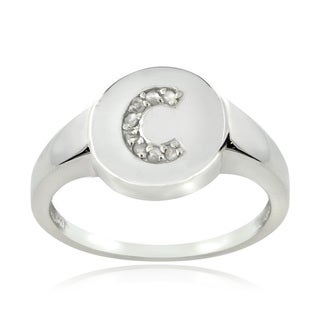 Link to DB Designs Sterling Silver 1/10CT TDW Diamond C Initial Ring Similar Items in Rings