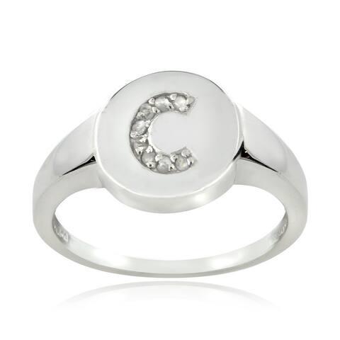 DB Designs Sterling Silver 1/10CT TDW Diamond C Initial Ring