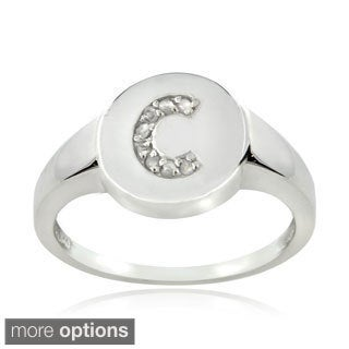 DB Designs Sterling Silver 1/10CT TDW Diamond C Initial Ring
