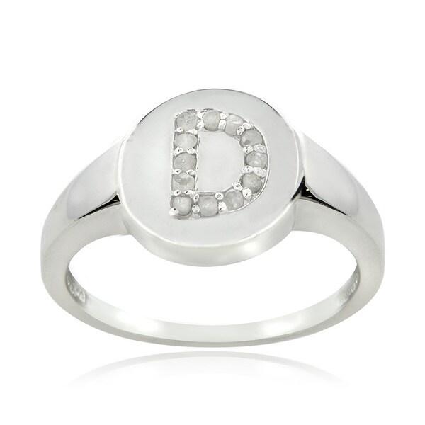 DB Designs Sterling Silver 1/8ct TDW Diamond D Initial Ring
