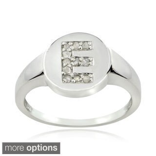 DB Designs Sterling Silver 1/10ct TDW Diamond E Initial Ring