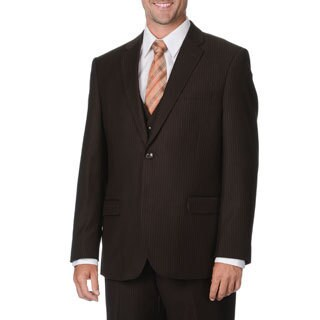 Caravelli Italy Men's Brown Pinstripe Vested Suit (More options available)
