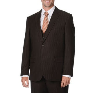 Caravelli Italy Men's Brown Pinstripe Vested Suit
