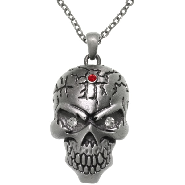 Pewter Large Skull Head Crystal Eyes Pendant 24-inch Chain Necklace