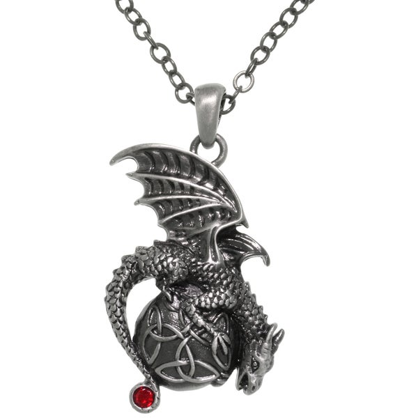 Pewter Dragon Celtic Trinity Knot Orb Pendant 24-inch Chain Necklace
