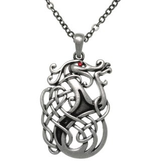 Carolina Glamour Collection Pewter Celtic Dragon Knot Medallion 24-inch Pendant Chain Necklace