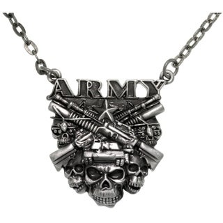Carolina Glamour Collection Pewter Army Skulls Chain Pendant Necklace