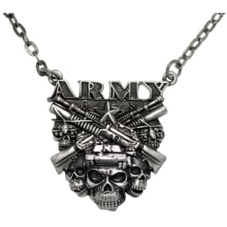 Pewter Army Skulls Chain Pendant Necklace