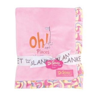 Dr. Seuss Oh, the Places You'll Go Pink Ruffled Velour Baby Blanket