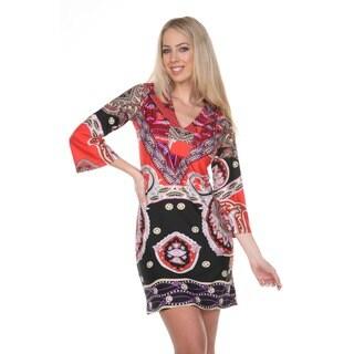 White Mark Women's Madelyn Black/ Pink Paisley Bell Sleeve Dress