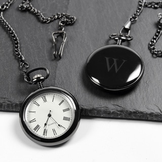 Men's Personalized Gunmetal Pocket Watch