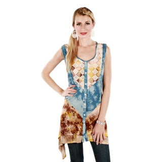 Firmiana Women's Blue Tie-dye Sleeveless Tunic