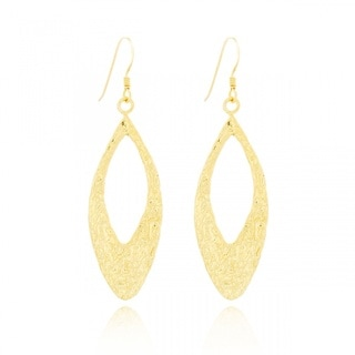 Belcho Eye-shaped Leaf Textured Dangle Earrings