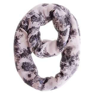 Black/ Light Pink Cherry Blossom Floral Print Loop Scarf