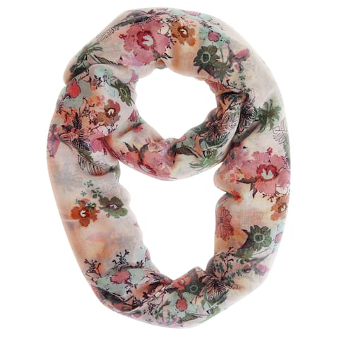 Peach Couture Beige Cherry Blossom Floral Print Loop Scarf