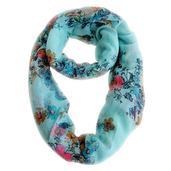Sky Blue Cherry Blossom Floral Print Infinity Loop Scarf