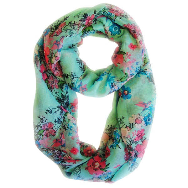 Sea Green Cherry Blossom Floral Print Loop Scarf