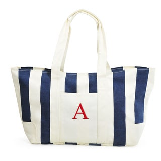 Personalized Navy Striped Canvas Tote