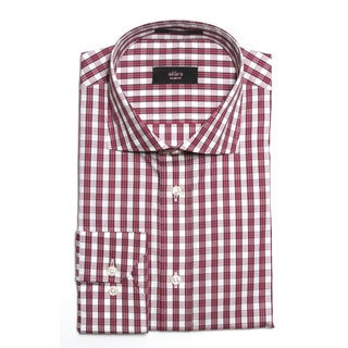 Alara Men's Slim Fit Maroon Striped Egyptian Cotton Dress Shirt