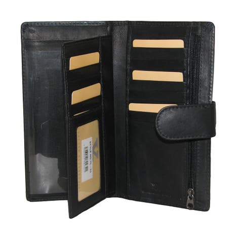 All-in-1 Genuine Leather Wallet/ Card Case Holder/ Removable Checkbook/ Register Pocket Secretary - Large
