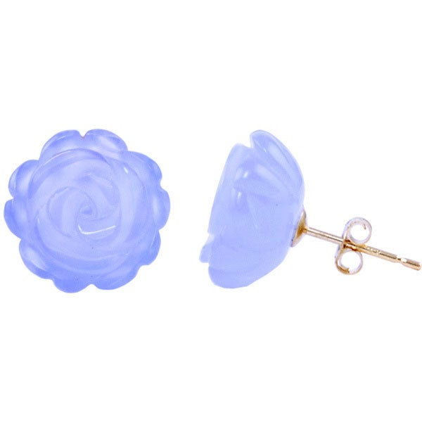 14k Yellow Gold Chalcedony Flower Stud Earrings
