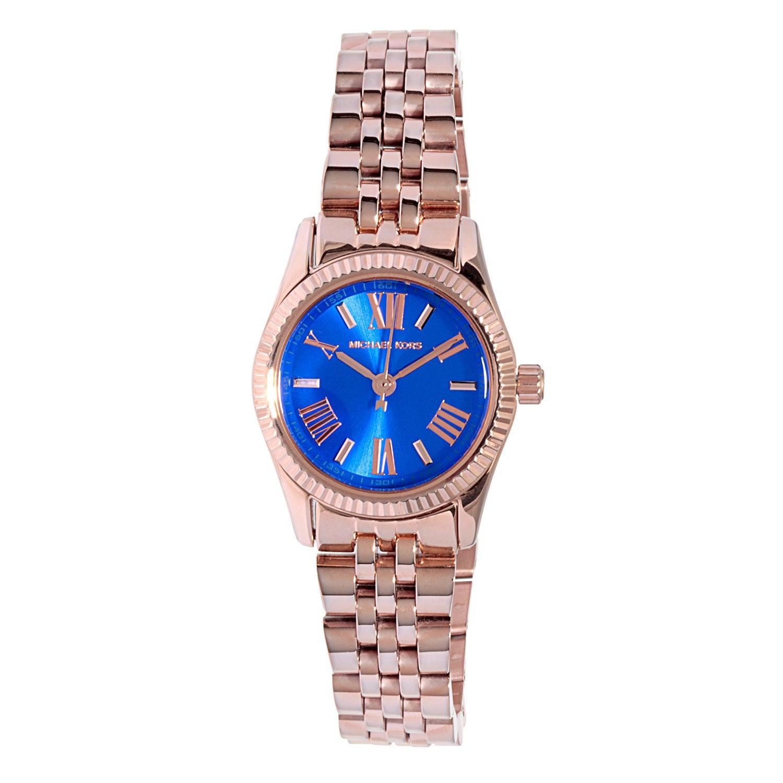 Michael Kors Womens  Petite Lexington Blue Dial Rosetone Watch Michael Kors Womens MK3272 Petite Lexington Blue Dial Roset