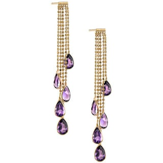14k Yellow Gold Amethyst Stand Drop Earrings
