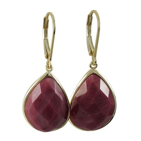 Luxiro Gold over Sterling Silver Faceted Teardrop Gemstone Leverback Earrings