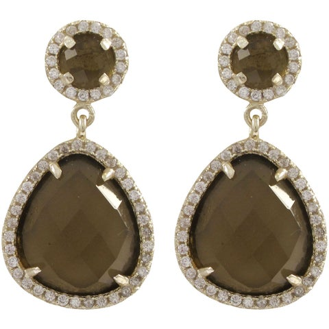 Luxiro Sterling Silver Cubic Zirconia Faceted Circle and Teardrop Earrings