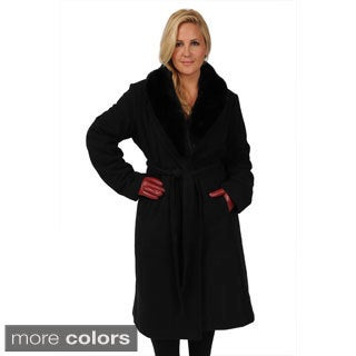 Excelled Women's Plus Size Belted Full-length Swing Coat