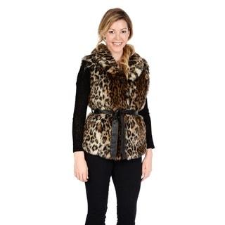 EXcelled Women's Belted Faux Fur Vest