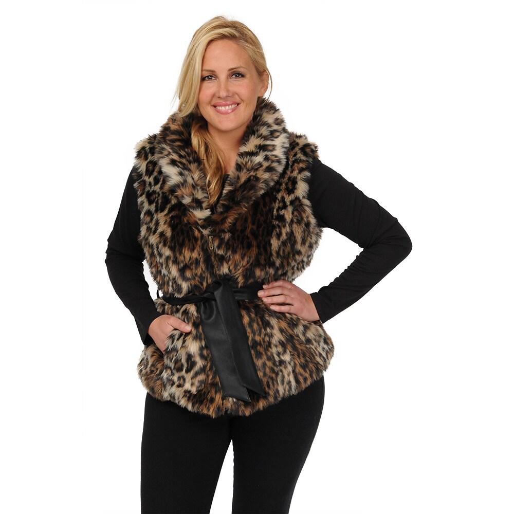 Excelled Women's Plus Size Belted Faux Fur Vest (Leopard-...