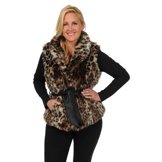 EXcelled Women's Plus Size Belted Faux Fur Vest