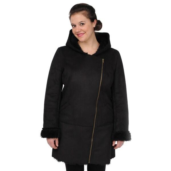 2845e6d5dce2 Shop EXcelled Women s Faux Shearling Asymmetrical-zip Coat - Free ...