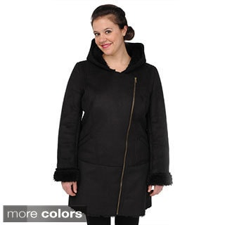 EXcelled Women's Faux Shearling Asymmetrical-zip Coat