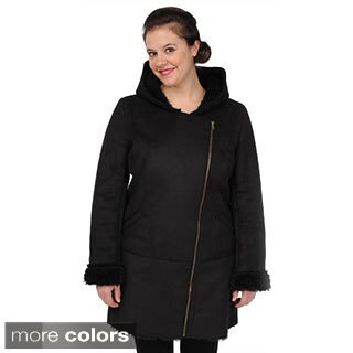 EXcelled Women's Faux Shearling Asymmetrical-zip Coat (As Is Item)