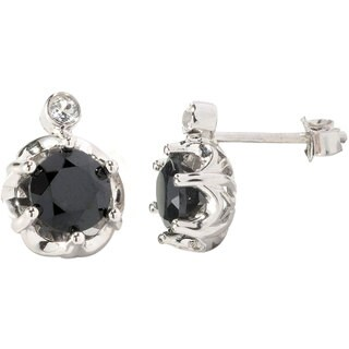 V3 Designs Sterling Silver Black Spinel and White Topaz Stud Earrings