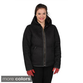 EXcelled Women's Faux Shearling Hooded Hipster Jacket