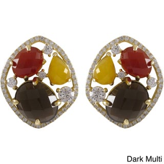 Luxiro Gold over Sterling Silver Multi-color Gemstone Cluster Earrings (2 options available)