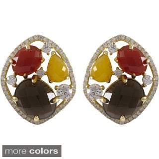 Luxiro Gold over Sterling Silver Multi-color Gemstone Cluster Earrings