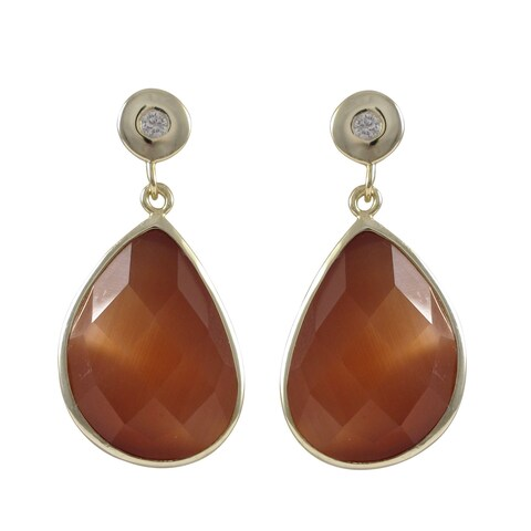 Luxiro Gold Finish Sterling Silver Semi-precious Gemstone Drop Earrings