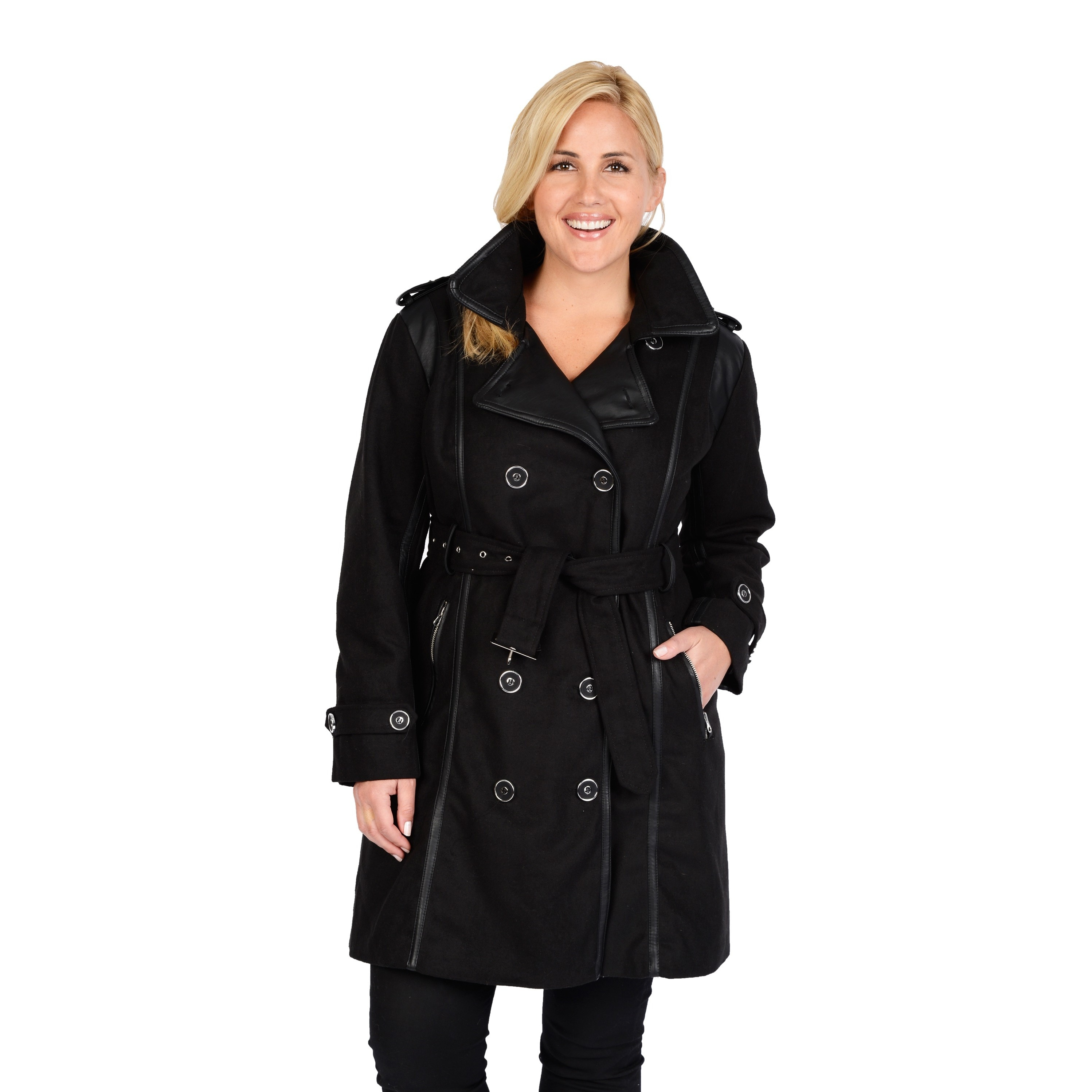detailed pictures best choice good quality Excelled Women's Plus Size Black Double Breasted Belted Trench Coat