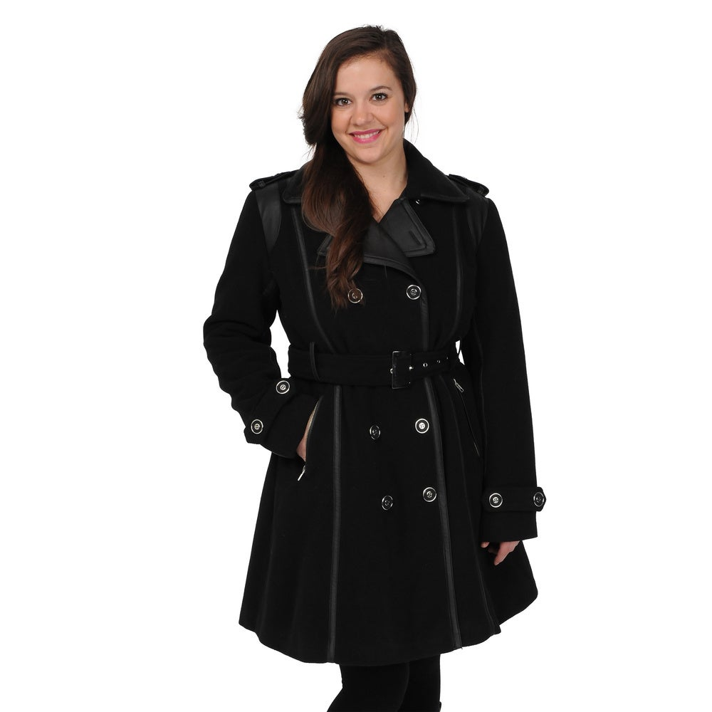 EXcelled Womens Black Double Breasted Belted Trench Coat