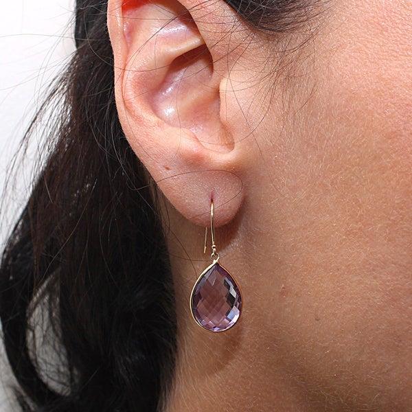 Pink Amethyst 12 mm x 16 mm Pear Dangle Earrings,14K Yellow Gold Leverbacks