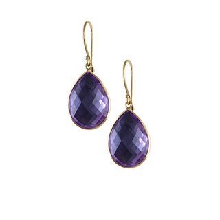 14k Yellow Gold Pear-cut Amethyst Dangle Earrings